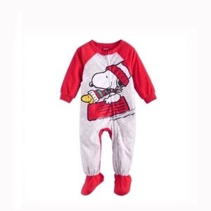 Other - Peanuts snoopy & Woodstock sledding footed pajamas